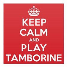 "Keep Calm Play Tamborine Square Car Magnet 3"" x 3"""