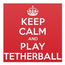 "Keep Calm Play Tetherball Square Car Magnet 3"" x 3"