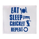 Eat Sleep Cricket Throw Blanket
