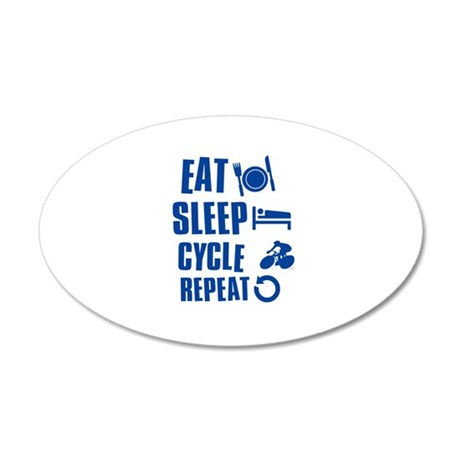 Eat Sleep Cycle 20x12 Oval Wall Decal