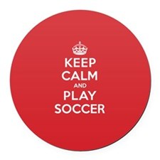 Keep Calm Play Soccer Round Car Magnet
