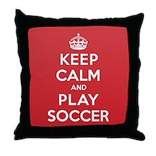 Keep Calm Play Soccer Throw Pillow