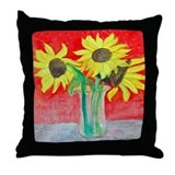 Sunflower Vase Throw Pillow