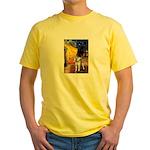 Cafe - Shiba Inu (std) Yellow T-Shirt