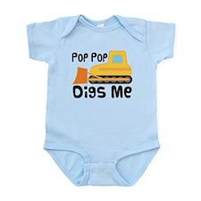 Love PopPop Bulldozer Infant Bodysuit