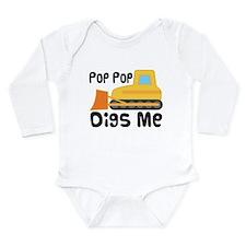 Love PopPop Bulldozer Long Sleeve Infant Bodysuit