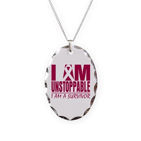 Unstoppable Head Neck Cancer Necklace Oval Charm
