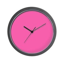 Solid Hot Pink Clock with No Numbers Wall Clock