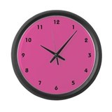 Solid Hot Pink Clock with Black Numbers Large Wall