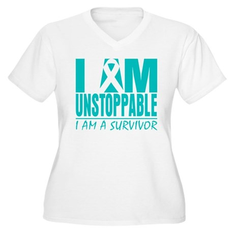 Unstoppable Ovarian Cancer Women's Plus Size V-Nec