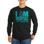 Unstoppable Ovarian Cancer Long Sleeve Dark T-Shir