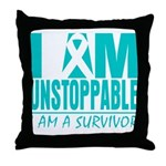 Unstoppable Ovarian Cancer Throw Pillow
