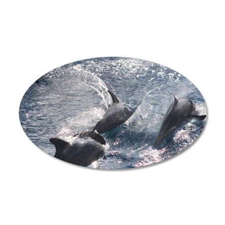 Bottlenose Dolphins 2 35x21 Oval Wall Decal