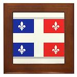 Drapeau Quebec Bleu Rouge Framed Tile
