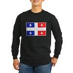 Drapeau Quebec Bleu Rouge Long Sleeve Dark T-Shirt