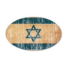 Israel Flag 20x12 Oval Wall Decal