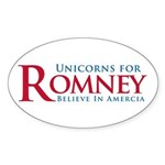 Unicorns for Romney Sticker (Oval 50 pk)