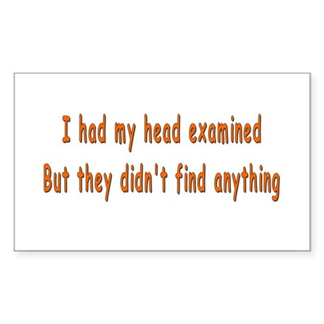 Humorous Empty Head Examination Sticker (Rectangul
