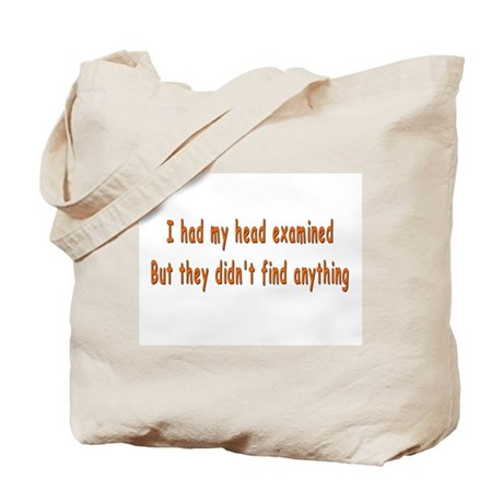 Humorous Empty Head Examination Tote Bag