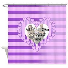 Designer pink love heart photo frame Shower Curtai