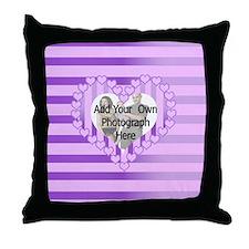 Designer pink love heart photo frame Throw Pillow