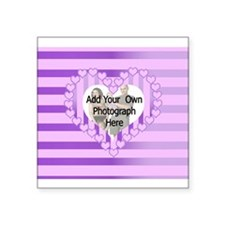 Personalized Cute pink heart photo gifts Square St
