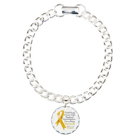 Appendix Cancer Strong Survivor Charm Bracelet, On