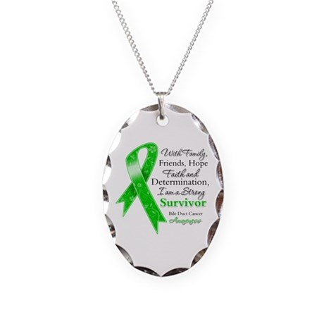Bile Duct Cancer Strong Necklace Oval Charm
