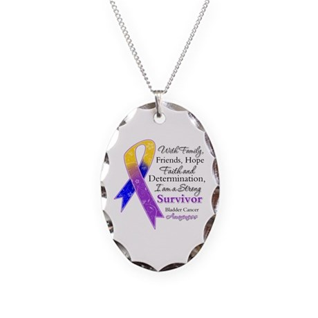 Bladder Cancer Strong Survivor Necklace Oval Charm