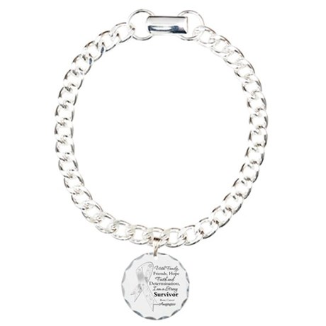 Bone Cancer Strong Survivor Charm Bracelet, One Ch