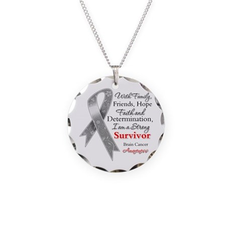 Brain Cancer Strong Survivor Necklace Circle Charm