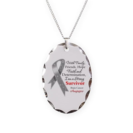 Brain Cancer Strong Survivor Necklace Oval Charm