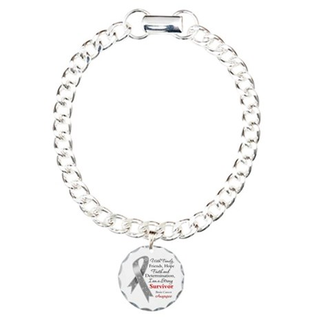 Brain Cancer Strong Survivor Charm Bracelet, One C