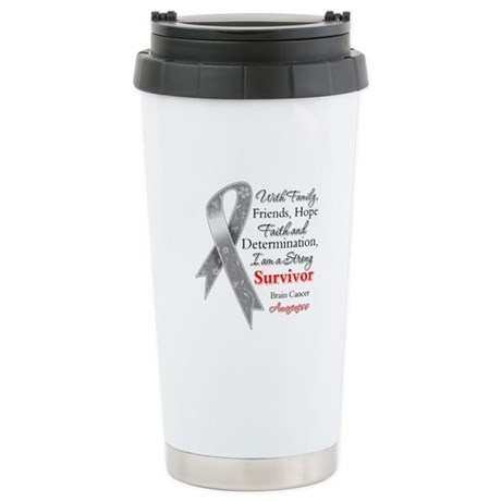 Brain Cancer Strong Survivor Ceramic Travel Mug