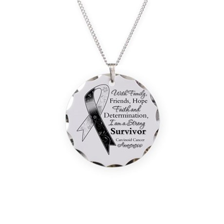 Carcinoid Cancer Survivor Necklace Circle Charm