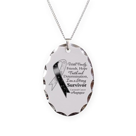 Carcinoid Cancer Survivor Necklace Oval Charm