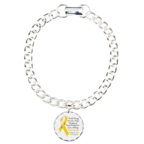 Survivor Childhood Cancer Charm Bracelet, One Char