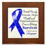 Colon Cancer Strong Survivor Framed Tile