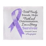 Strong Cancer Survivor Throw Blanket