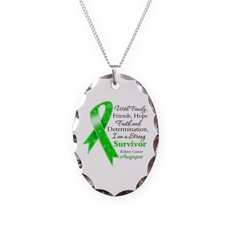 Strong Survivor Kidney Cancer Necklace Oval Charm