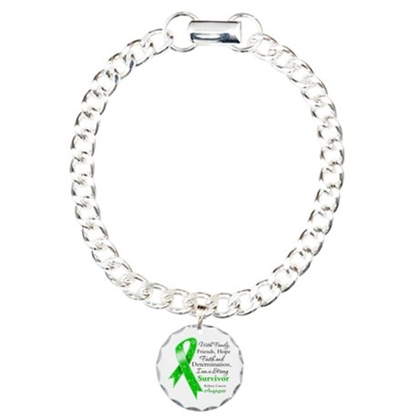 Strong Survivor Kidney Cancer Charm Bracelet, One