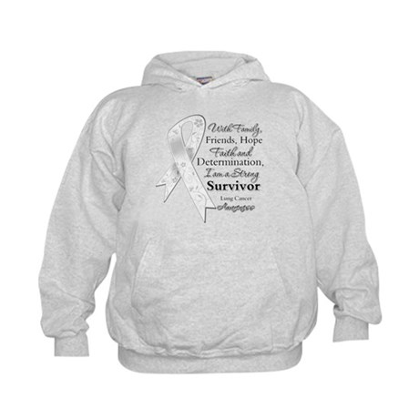 Lung Cancer Strong Survivor Kids Hoodie