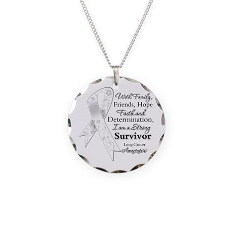 Lung Cancer Strong Survivor Necklace Circle Charm