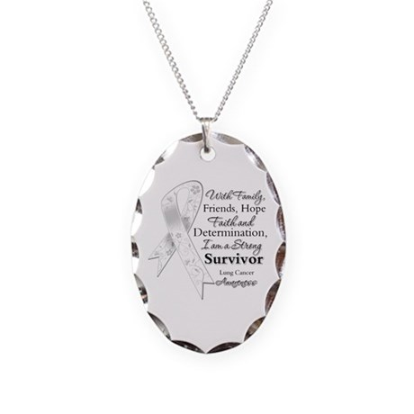 Lung Cancer Strong Survivor Necklace Oval Charm