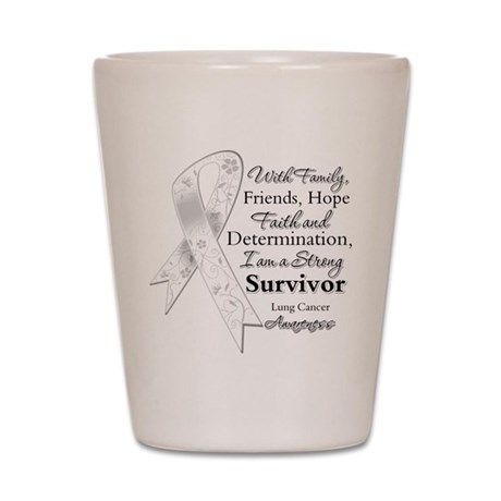 Lung Cancer Strong Survivor Shot Glass