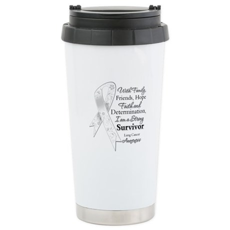 Lung Cancer Strong Survivor Ceramic Travel Mug