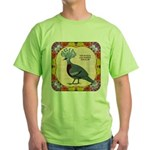 Crowned Pigeon Floral Green T-Shirt