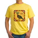 Crowned Pigeon Floral Yellow T-Shirt