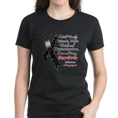 Melanoma Strong Survivor Women's Dark T-Shirt