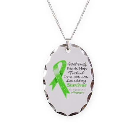 Non-Hodgkins Strong Survivor Necklace Oval Charm